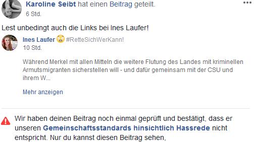 """FB Sperre für Karoline Seibt wegen """"Haßrede"""""""