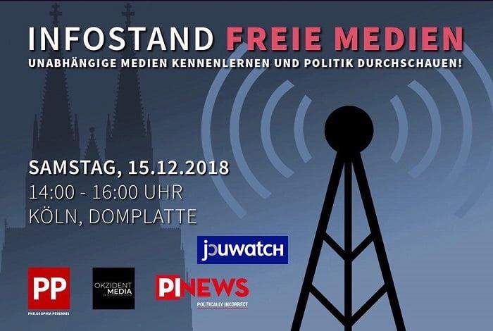 """PI-News, PP u.a. in Köln: Kampagne """"Freie Medien"""" startet auf Domplatte"""