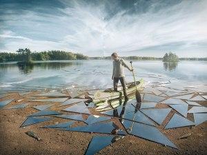 %name mirror glass broken lake impact by erik johansson