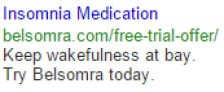 insomnia medication google search text ad