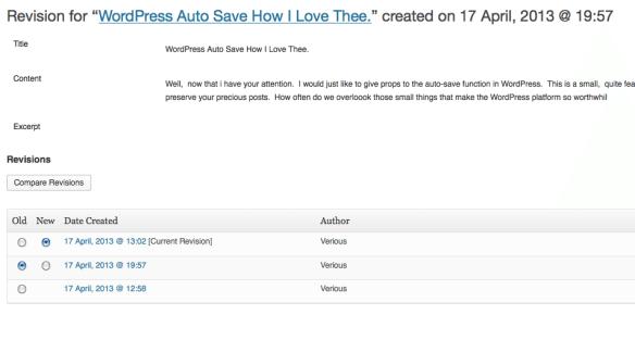 WordPress Revision Screen