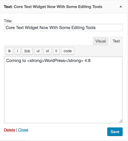 WORDPRESS 4.8 TEXT