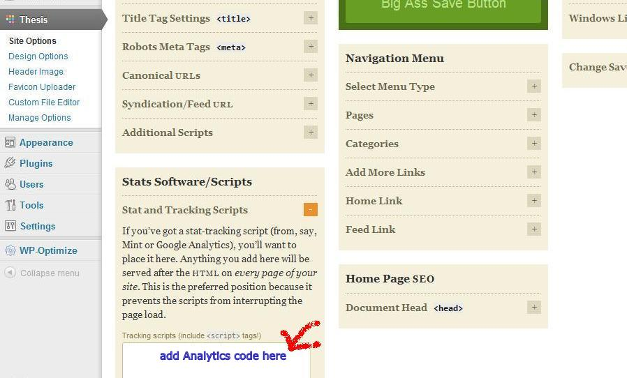 google analytics code in thesis theme Installing google analytics on your website as with all google services, you need to have a google account in order to use google analytics after you have logged in, you will be see four links in the top navigation menu: home, reporting, customization and admin click on the admin link.
