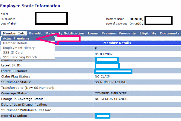 how to get sss static info online