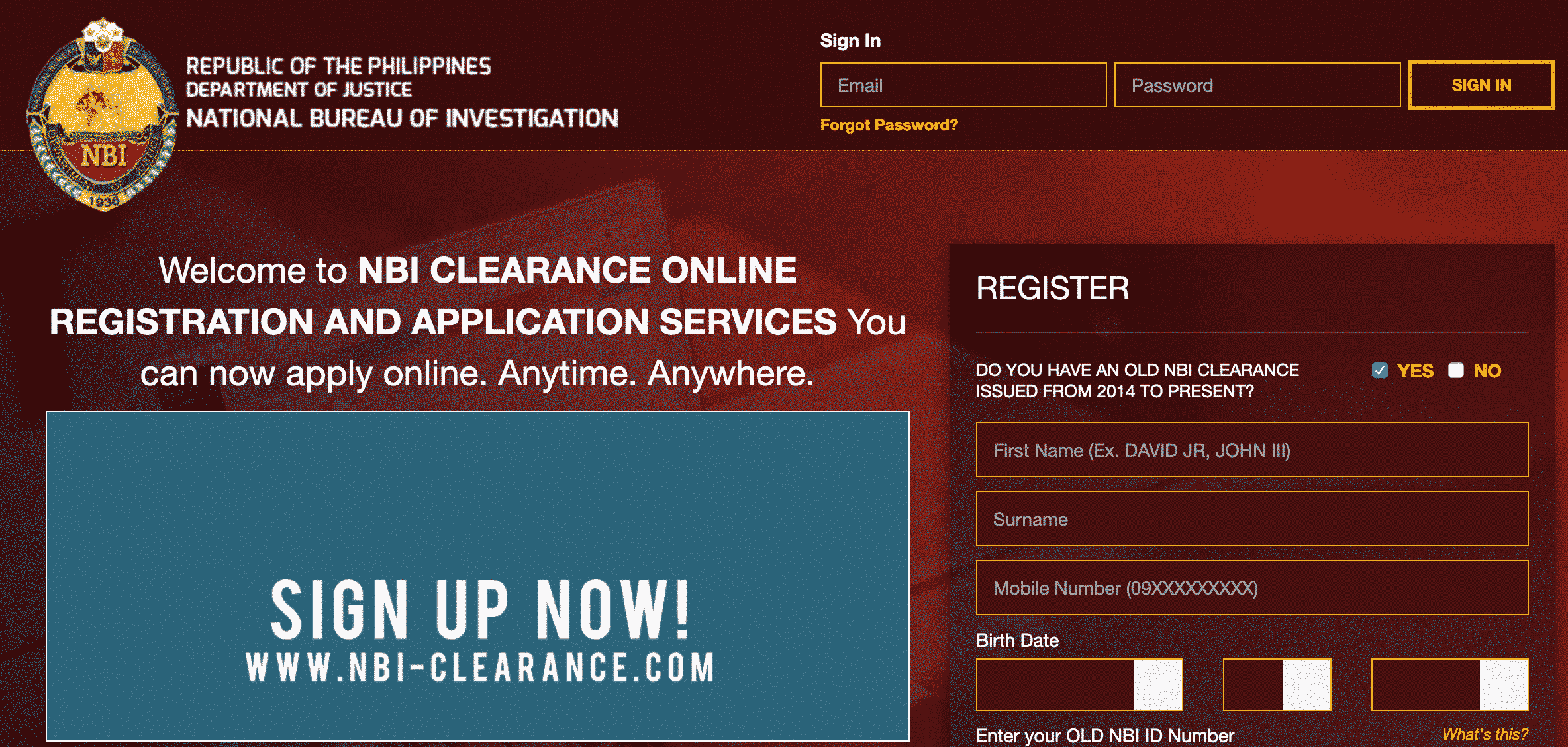 apply nbi clearance online