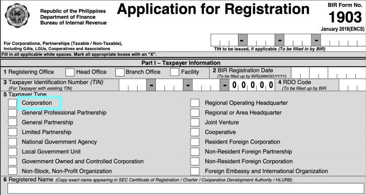 how to register corporation in bir
