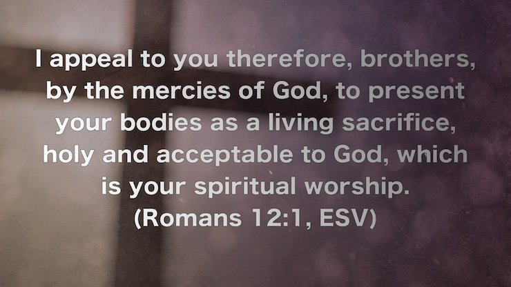 I appeal to you therefore, brothers, by the mercies of God, to present your bodies as a living sacrifice, holy and acceptable to God, which is your spiritual worship. (Romans 12:1, ESV)