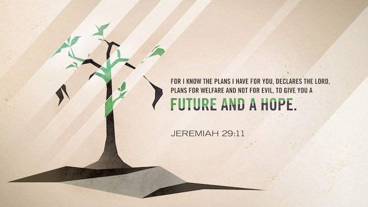 """For I know the plans I have for you, declares the LORD, plans for welfare and not for evil, to give you a future and a hope."" (Jeremiah 29:11, ESV)"