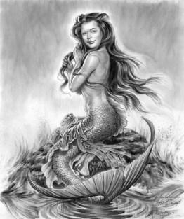 Custom mermaid portrait painting fine art drawing phil roberts