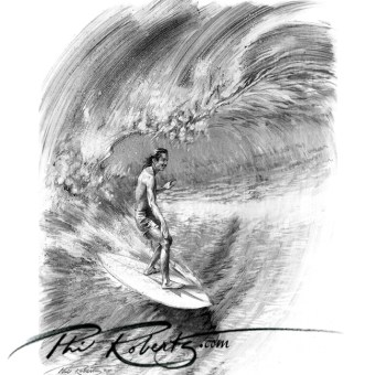 Gerry Lopez pipe masters art surfing pipe charcoal sketch by Phil Roberts