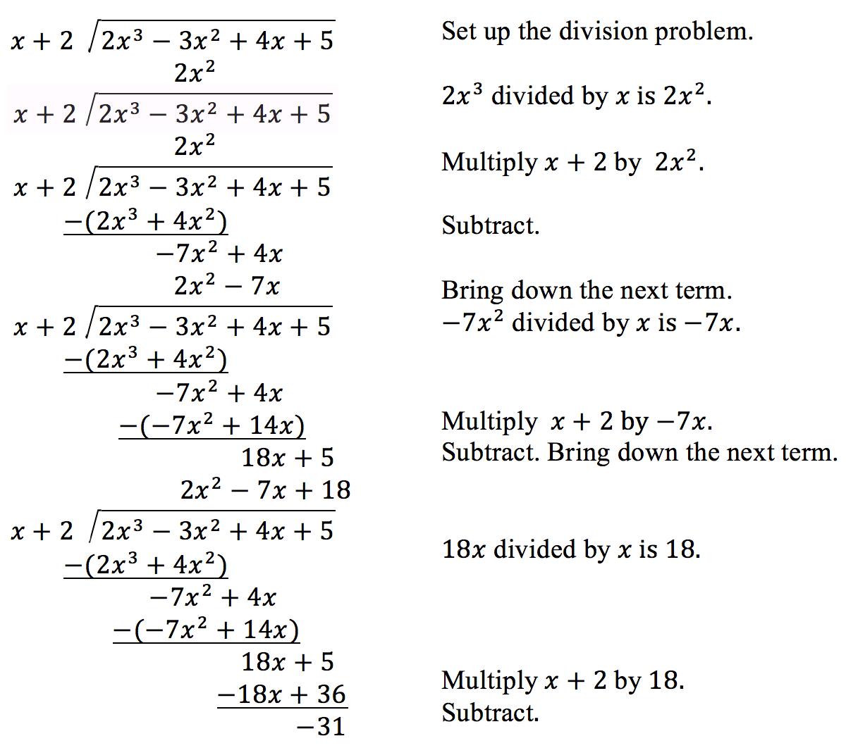 Dividing Polynomials Precalculus