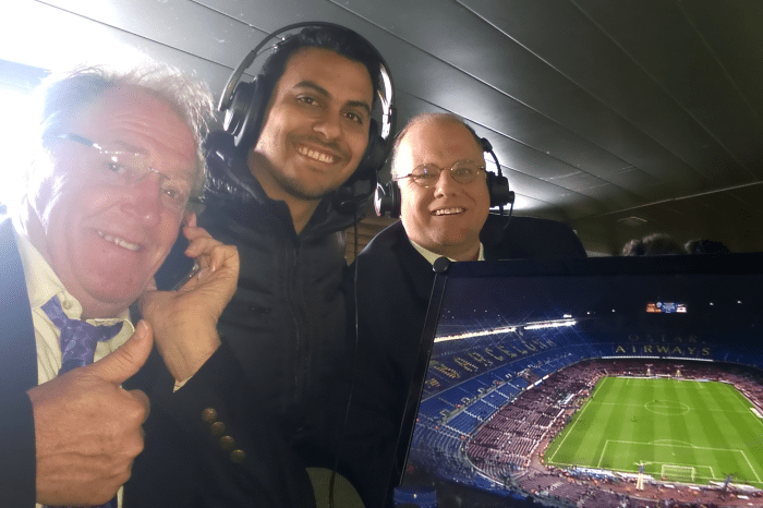 In the broadcast area at the Camp Nou for el Clasico!