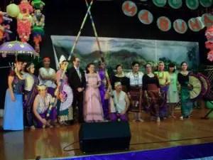 Hiyas dancers with choreographer Ms Ludy Dellamas, in prink costume