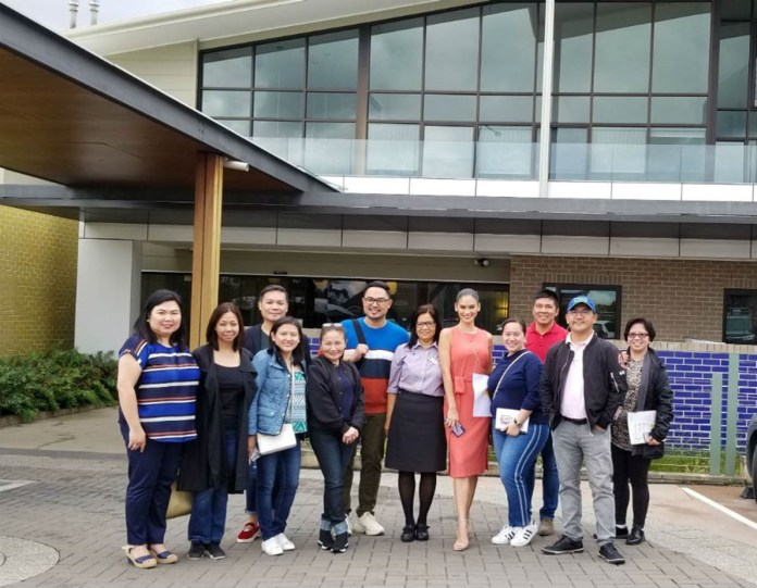 ASAP Kapamilya team at the façade of the sprawling Quaker Hill NSW Nursing Home and Aged Care Facilities