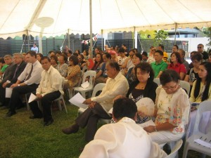 Part of the crowd attending the handover ceremony for the affordable housing units in Leumeah.