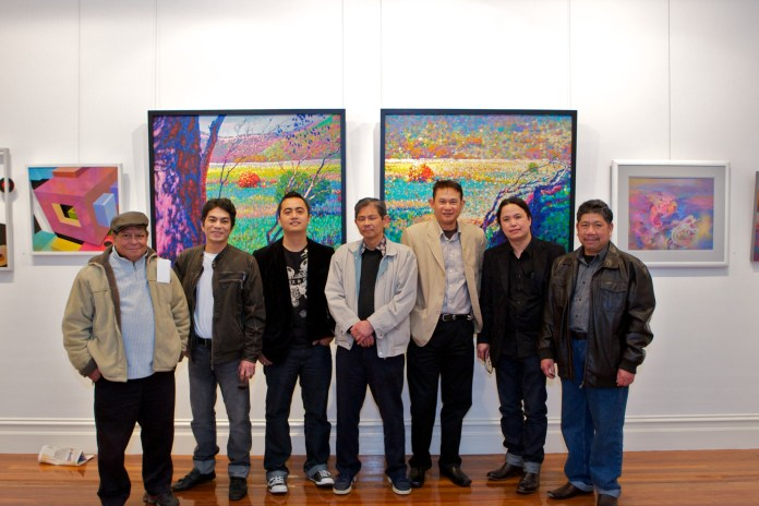 Filipino Artists of Melbourne (FAME) - From left, Joel Magpayo, Jake Merin, Christian Bulos, Al Medilo, Gilbert Hernandez, Jess Marasigan, and Do Noble