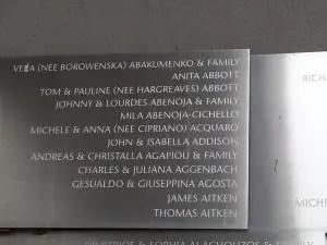 Abenoja Northern Wall Tributes 1 ImmigMuseum 1999