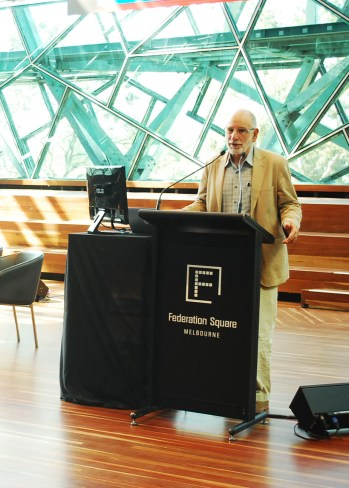 Eddie Micallef, Chairperson of Ethnic Communities' Council of Victoria, delivers speech
