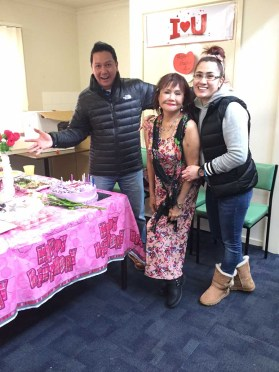Bobby Napoles and sister sister Luvlie with mother Gemma Mendonez.
