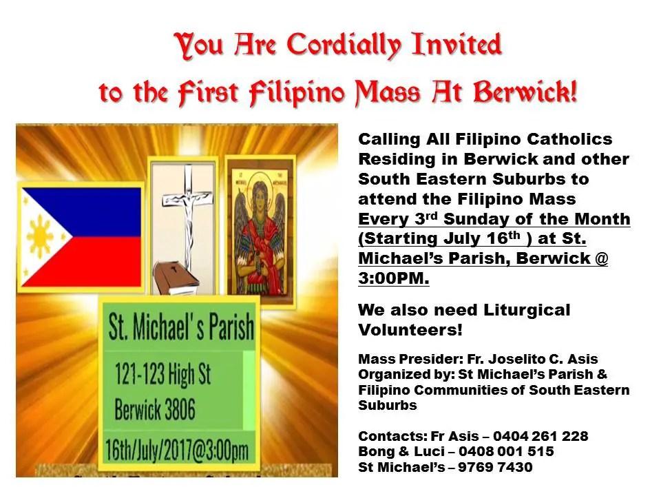 First Filipino Catholic Mass in Berwick (VIC)