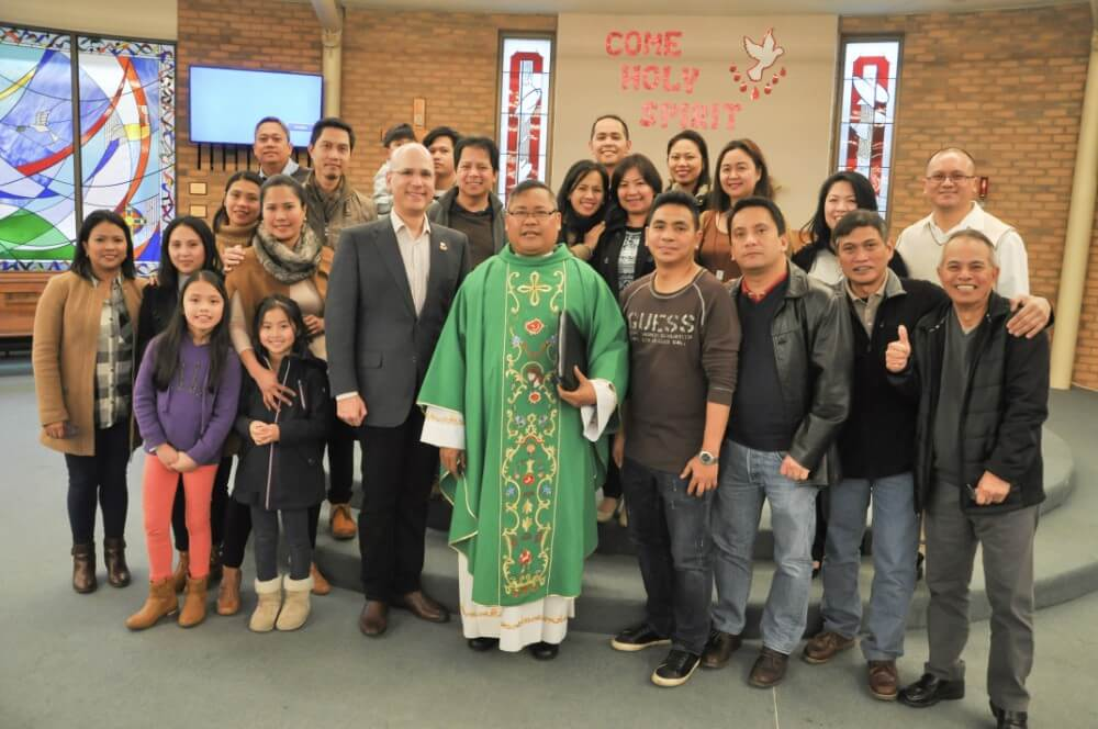 Fr Asis and Consul Pintado with parishioners of St Michael's Church in Berwick