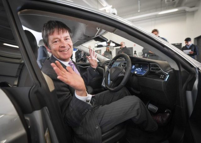 Minister for Roads and Road Safety Luke Donnellan inside an automated car made by Bosch. Photo credit: Transport Accident Commission Victoria