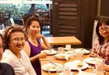 Eisenberg reunion- with Christina Cre resident of Switzerland, Bert Soriano resident of California USA, Maritoni Soriano, resident of Manila Philippines and Julie Morales Lava, resident of Sydney, Australia.