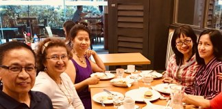 Eisenberg reunion- with Christina Cre resident of Switzerland, Bert Soriano resident of California USA, Maritoni Soriano, resident of Manila Philippines and Julie Morales Lava, resident of Sydney, Australia.