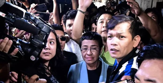 Maria Ressa was arrested in early February. ALECS ONGCAL/AAP