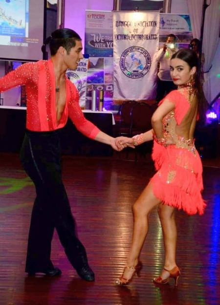 Professional ballroom dancers Justin Rafol and Renee Haggar