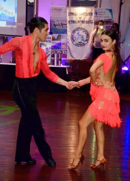 Professional ballroom dancers Justin Rafol and Renee Haggar
