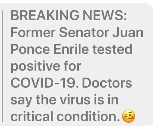 Enrile on coronavirus