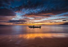Sunset, boat, sea