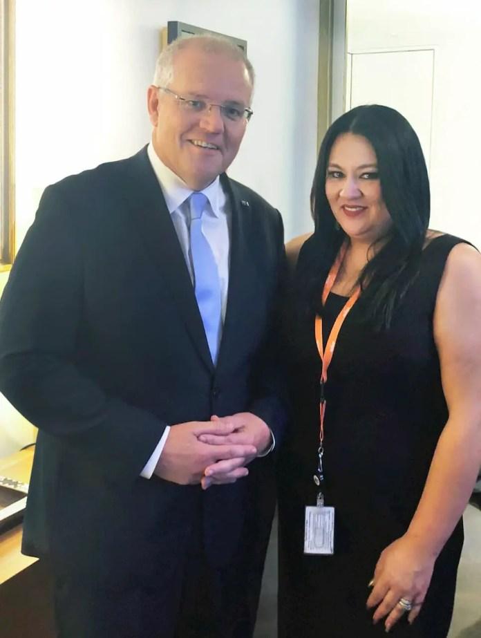 Carmen Garcia with Prime Minister Scott Morrison.