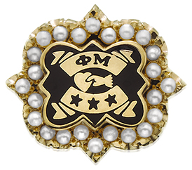 The official badge of Phi Mu Fraternity can be jeweled as the member desires.