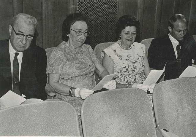 L to R: Alpha Chi Rho Past National President Dr. R. B. Stewart; Phi Mu Foundation Past Treasurer Lillian Olssen Stewart, Delta Epsilon; and Delta Epsilon House Mother Mary Byrnes gathered for the premiere of