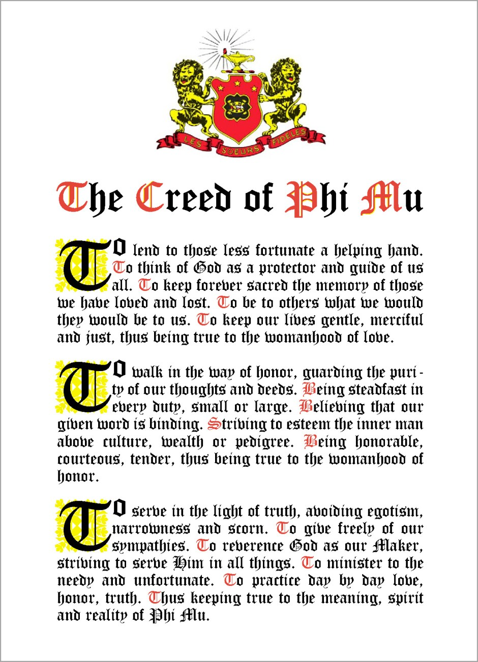 The Creed of Phi Mu