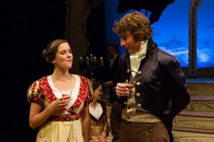 Lauren Sowa as Emma Woodhouse, Charlotte Northeast as Mrs. Weston, Trevor William Fayle as Mr. Elton, Nathan Foley as Mr. Weston, and Harry Smith as Mr. Knightley in Lantern Theater Company's production of Jane Austen's EMMA (2013). Photo by Mark Garvin.