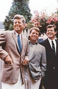 John F. Kennedy, Robert F. Kennedy (middle), and Ted Kennedy.