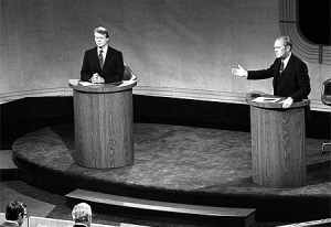 Gerald Ford and Jimmy Carter in the 1976 presidential debate at the Walnut Street Theatre.
