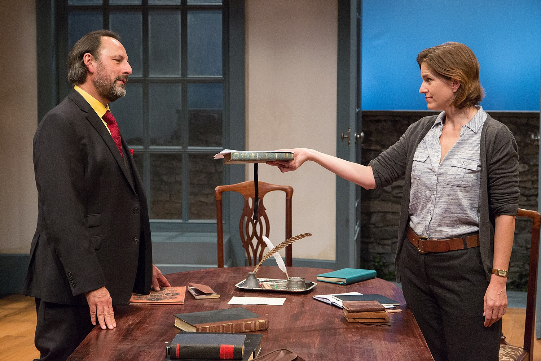 oe Guzmán as Bernard Nightingale and Kittson O'Neill as Hannah Jarvis in Lantern Theater Company's production of ARCADIA. Photo by Mark Garvin.