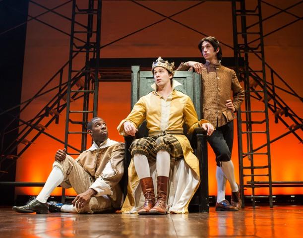 Ashton Cater (as Baggot), James-Patrick Davis (as Richard II), Alexander Harvey (as Bushy). (Photo by Shawn May)