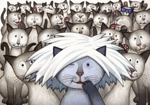 James Warhola, original watercolor illustration for the cover of Uncle Andy's Cats, 2009 (Photo credit: Courtesy of the Artist)
