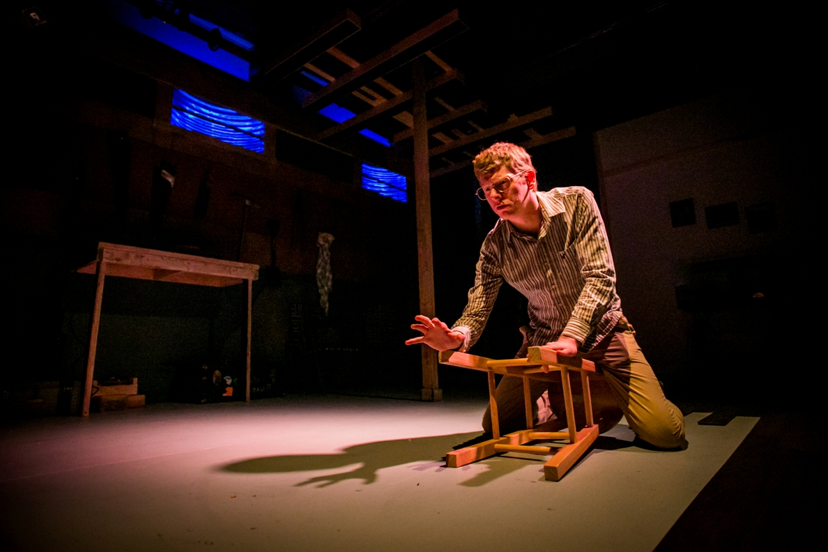 Josh Hitchens plays the psycho-killer in BrainSpunk's JEFFREY DAHMER: GUILTY BUT INSANE (Photo credit: Ashley LaBonde, Wide Eyed Studios)