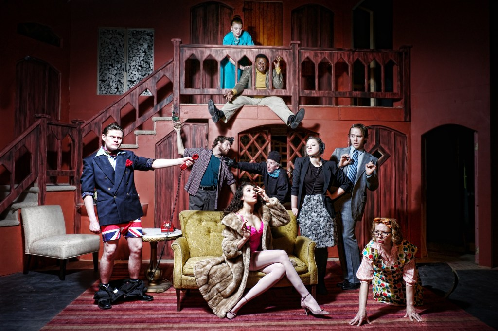 The cast of NOISES OFF. Photo by Kyle Cassidy.