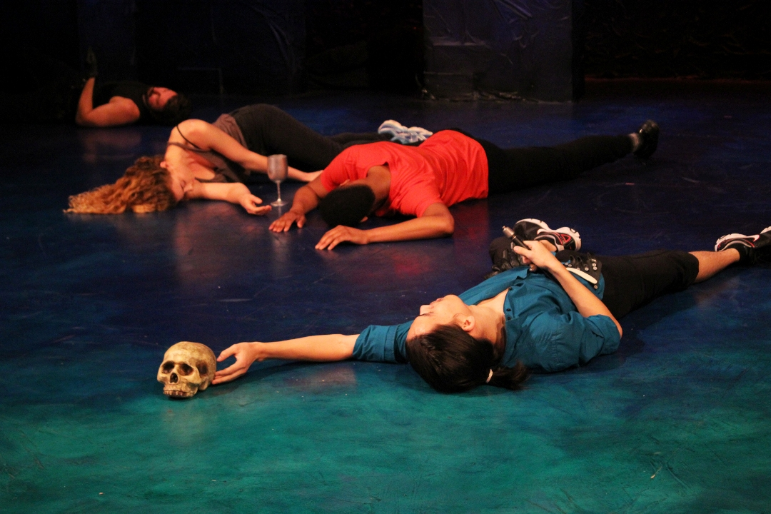 The ensemble (top left to bottom right: William LeDent, Julia Jensen Ray, Deaon Griffin-Pressley, and Steve Wei) of The Philadelphia Shakespeare Theatre's KILL WILL (Photo credit: Courtesy of The Philadelphia Shakespeare Theatre)