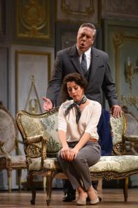 Stephen Powell as Giorgio Germont and Lisette Oropesa as Violetta in Opera Philadelphia's LA TRAVIATA (Photo credit: Kelly & Massa)