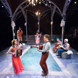 Liz Filios, Jake Blouch, and the ensemble of Lantern Theater Company's AS YOU LIKE IT (Photo credit: Mark Garvin).