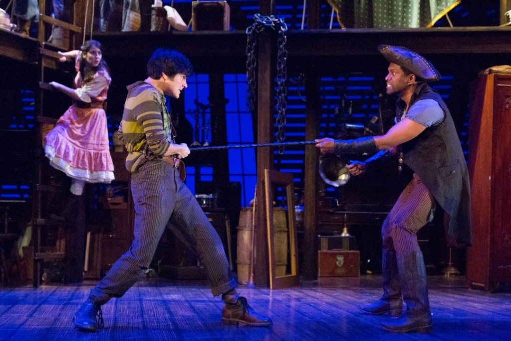 Michaela Shuchman, Brandon O'Rourke, and Lindsay Smiling in Walnut Street Theatre's PETER AND THE STARCATCHER (Photo credit: Mark Garvin).