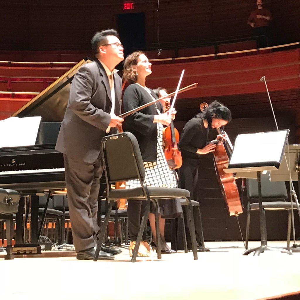 L to R Che-Hung Chen, Hilary Hahn, Natalie Zhu, Yumi Kendall. Photo by George Bell.